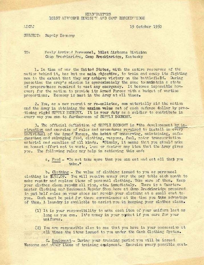 Supply Economy letter, 19 October 1950 – The John Tubinis File